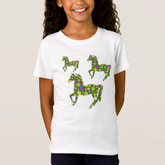 Funky Retro Floral Horse T Shirt