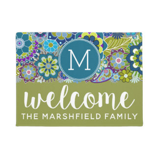 Funky Retro Floral Pattern with Custom Monogram Doormat