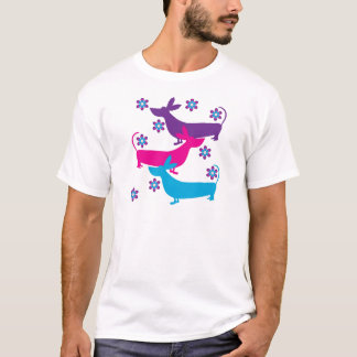 Funky retro foral basset hound dogs t-shirt