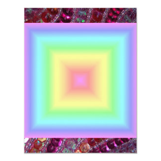 Funky Retro Girly Bright Pastel Rainbow Blur 11 Cm X 14 Cm Invitation Card