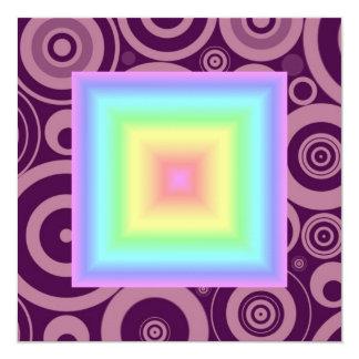 Funky Retro Girly Bright Pastel Rainbow Blur 13 Cm X 13 Cm Square Invitation Card