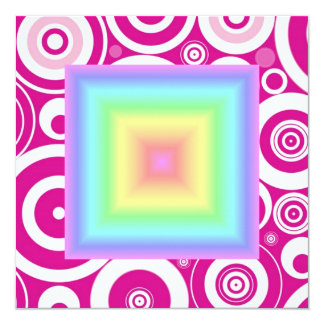 Funky Retro Girly Bright Pastel Rainbow Blur 13 Cm X 13 Cm Square Invitation Card