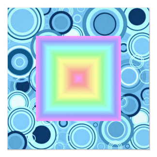 Funky Retro Girly Bright Pastel Rainbow Blur Custom Invite