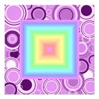 Funky Retro Girly Bright Pastel Rainbow Blur Personalized Invitation
