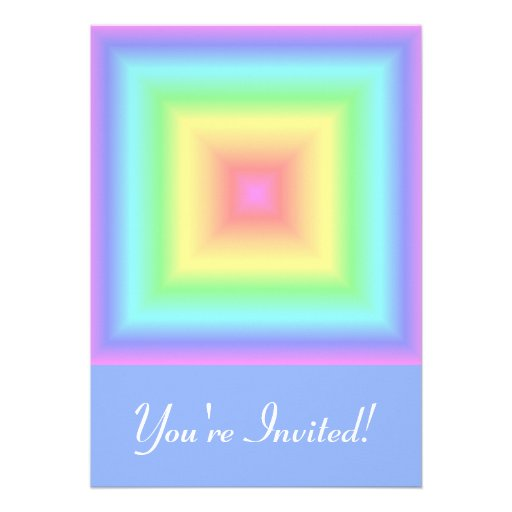 Funky Retro Girly Bright Pastel Rainbow Blur Custom Invites