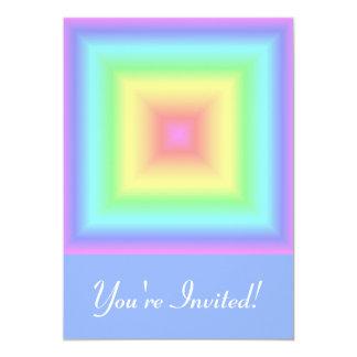 Funky Retro Girly Bright Pastel Rainbow Blur 5x7 Paper Invitation Card