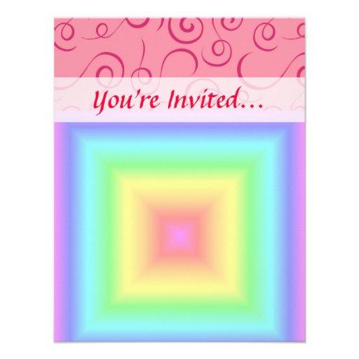 Funky Retro Girly Bright Pastel Rainbow Blur Invitations