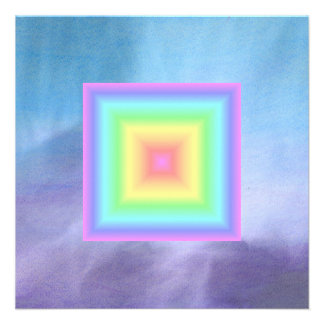 Funky Retro Girly Bright Pastel Rainbow Blur Invitation