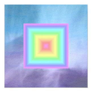 Funky Retro Girly Bright Pastel Rainbow Blur 5.25x5.25 Square Paper Invitation Card