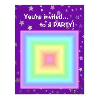Funky Retro Girly Bright Pastel Rainbow Blur 4.25x5.5 Paper Invitation Card