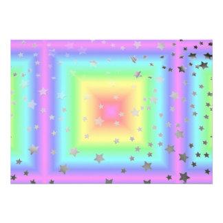 Funky Retro Girly Bright Pastel Rainbow Blur Invites