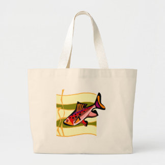 Funky Retro Green and Red Tropical Fish Large Tote Bag