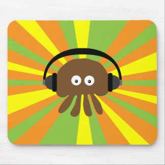 Funky Retro Jellyfish With Headphones Psychedelic Mousepads