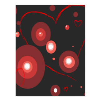 FUNKY RETRO LOVE HEARTS POSTCARD