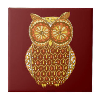Funky Retro Owl Groovy Ceramic Tile