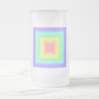 Funky Retro Pastel Rainbow Geometric Abstract Blur Frosted Glass Beer Mug