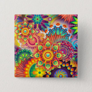 Funky Retro Pattern Abstract Bohemian 15 Cm Square Badge