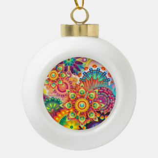 Funky Retro Pattern Abstract Bohemian Ceramic Ball Christmas Ornament
