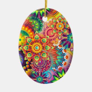 Funky Retro Pattern Abstract Bohemian Ceramic Ornament