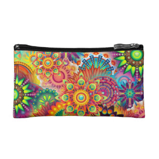 Funky Retro Pattern Abstract Bohemian Cosmetic Bag