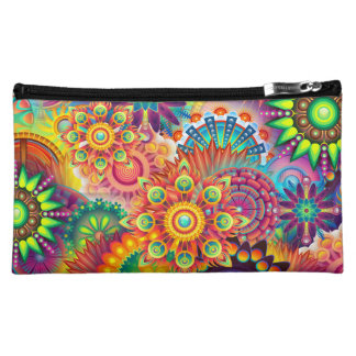 Funky Retro Pattern Abstract Bohemian Cosmetic Bags