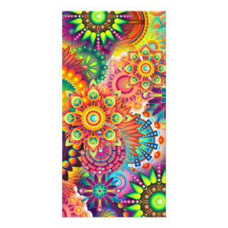 Funky Retro Pattern Abstract Bohemian Customised Photo Card