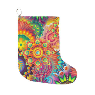 Funky Retro Pattern Abstract Bohemian Large Christmas Stocking