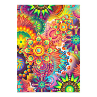Funky Retro Pattern Abstract Bohemian Magnetic Invitations