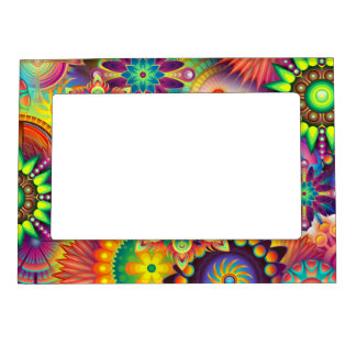 Funky Retro Pattern Abstract Bohemian Magnetic Picture Frame