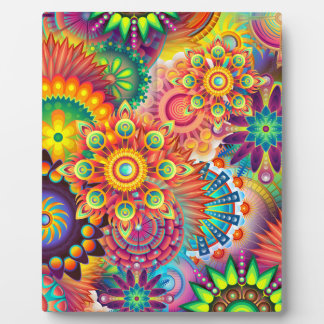Funky Retro Pattern Abstract Bohemian Plaque