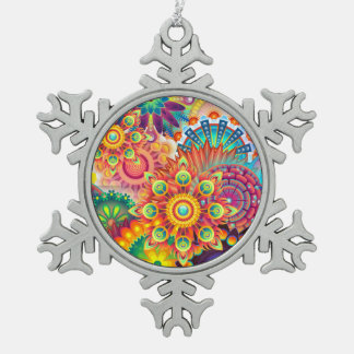 Funky Retro Pattern Abstract Bohemian Snowflake Pewter Christmas Ornament
