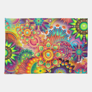 Funky Retro Pattern Abstract Bohemian Tea Towel