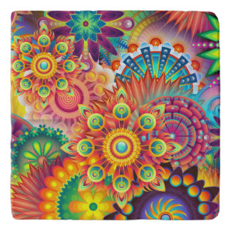 Funky Retro Pattern Abstract Bohemian Trivet