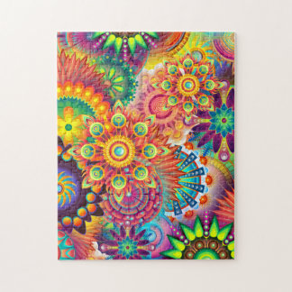 Funky Retro Pattern Abstract Boho Jigsaw Puzzle