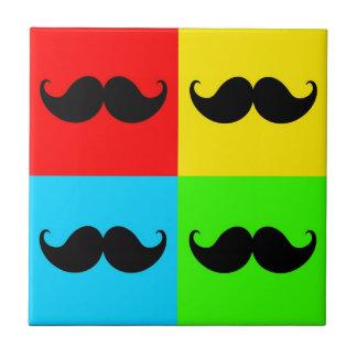 Funky Retro Pop Art Mustache Moustache Stache Small Square Tile