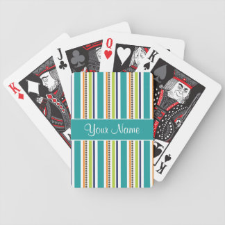 Funky Retro Stripes and Spots Bicycle Playing Cards
