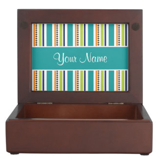 Funky Retro Stripes and Spots Keepsake Box