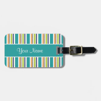 Funky Retro Stripes and Spots Luggage Tag