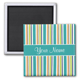 Funky Retro Stripes and Spots Magnet