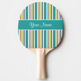 Funky Retro Stripes and Spots Ping Pong Paddle