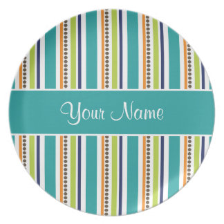 Funky Retro Stripes and Spots Plate
