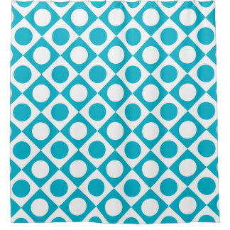 Funky Retro Teal Blue and White Patterned Shower Curtain