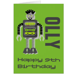 Funky Robot Age/Name Customisable Card