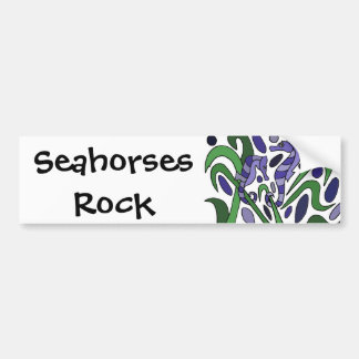 Funky Seahorse Art Abstract Car Bumper Sticker