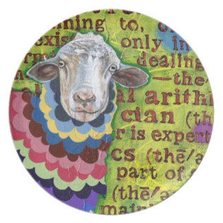 Funky Sheep Art Plate
