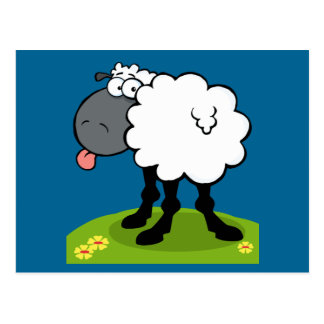 funky sheep sticking out tongue postcard