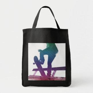 Funky Skateboarder Skate Kid Grocery Tote Bag