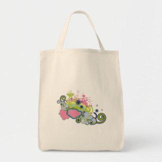 funky skies vector design grocery tote bag