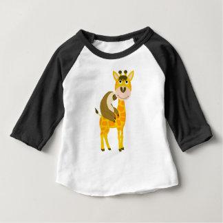 Funky Sloth Riding a Giraffe Cartoon Baby T-Shirt