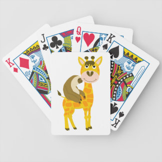 Funky Sloth Riding a Giraffe Cartoon Bicycle Playing Cards